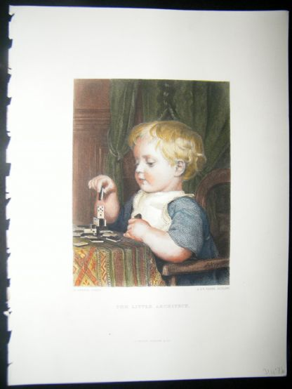 After Anker 1874 Hand Col Art Journal Print. The Little Architect, Children | Albion Prints
